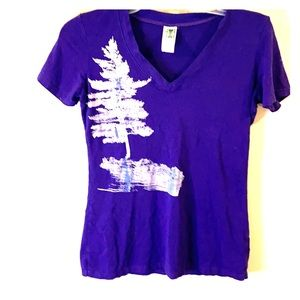 Purple Bamboo stretch tee Canada made L-med fit